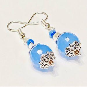 Blue Chalcedony Cats Eye & Tibetan Silver Earrings